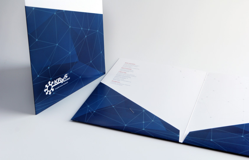 Krys Global Rebrand presentation folders