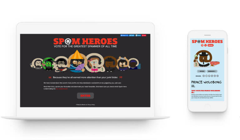 Spam Heroes - Web Design. Creative.